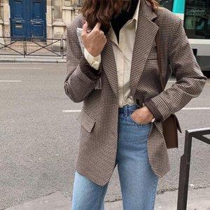 Hzirip Work Wear Vintage Houndstooth Plaid Blazer Mujeres 2021 Nuevo otoño elegante elegante cardigan traje suelto Jack Blazers1