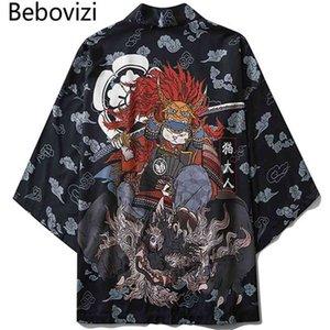 Heap Asia Pacific Islands Roupas Bebovizi Estilo Japonês Cat Samurai Kimono Streetwear Homens Mulheres Cardigan Japão Harajuku Anime Robe A ...