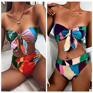 Women's Swimwear Swimsuit Two Piece Set Multi Color Lace Up Off Shoulder Bra Elastic Hipster Bikini For Female Summer Leisure