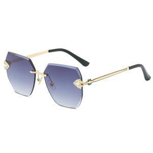 Óculos de sol sem aros para mulheres design de luxo strass mulher sunglases cortar lente aparada senhoras irregulares óculos de sol gafas de sol