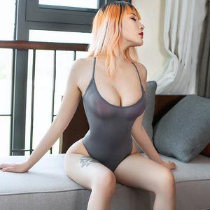 High Cut Thong Bikini Swimwear Swimsuits Sukumizu Sexy One Piece Bathingsuit Monokini Oil Glossy Spaghetti Correa Poliéster transparente