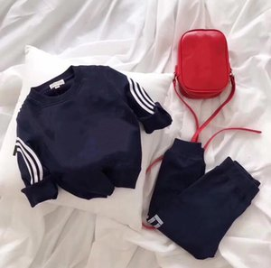 Just Arrived Fashion Spring Clothing Sets Designer Clothes Kids Round Neck Long Sleeve + Pants Two-piece Boy Girl Letter Printed Cotton 2-7 Years