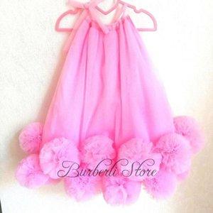 Нарезать розовые рубашки без рукавов Tulle дети короткие платья довольно цветок для девочек длиной до колена общественное платье лето