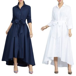 women fashion offce lady shirt long dresses lapel neck double-breasted casual skirt waist tie solid color Irregular dress