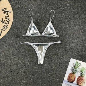 Women's Swimwear Sexy Triangular Bikini Set Solid Swimsuit For Women Summer Beach Wear Female Low Waist Sliver Biquini