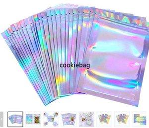 100 pezzi richiudibili odore borse a prova di foglio sacchetto del sacchetto flat sacchetto piatto di colore laser imballaggio per il favorita del partito Deposito alimentare Mylar