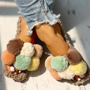 Sandales d'été Femmes Appartements S Chaussures Souffeuse Sweet Candy Faux Fourrure Pantoufles Slides Plus Taille Sandalias Mujer Sapato Feminino D1217