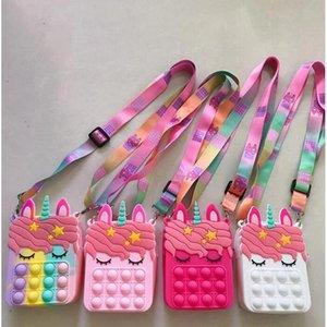 Fidget Sensory Bubble Bretelle Shoulder Bag Cellphone Straps Finger Push Phone Pouch Case Change Coin Purse Decompression Unicorn Popping Toys for Girls Kids