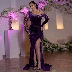 Soft Velvet Mermaid Evening Dresses Side Split Sexy Prom Gowns Ruched Beaded Long Sleeves Robe De Marrige
