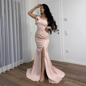Modern Vestidos De Fiesta One Shoulder Evening Dresses Mermaid Side Split long Maid of Honor Prom Dress Sexy Cocktail Party Women Special Occasion Wear