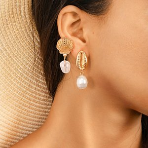 2Pairs Vintage for Stylish Faux Pearl Shell Conch Scallop Women Ear Stud Earrings Femme Earings