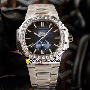 40,5 мм YR 5726 спортивные часы годовые календарь 5726A CAL.324 S QA автоматические мужские часы D-синий текстурированный циферблат из нержавеющей стали алмазная рамка