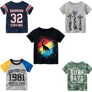 Letter Animal Print Kids T-Shirts Baby Boys Girls Cotton Short Sleeves Tops Child Summer Clothing Tee Toddler 2021 Clothing
