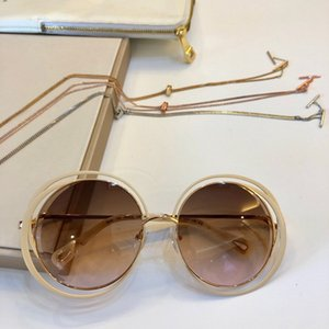 155S Gold Nude Round Sunglasses Brown Shaded occhiali da sole firmati women Glasses Oversized Sunglasses with Box