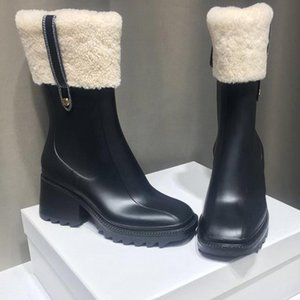 superior quality luxury designers women Half Boots Mixed Color wool Square Toes Rainboots chunky heels platform shoes combat Ankle boot Martin booties womens 34-41