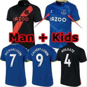 21 22 Everton FC Soccer Jerseys 2021 2022 Calvert-Lewin Richarlison Sigurdsson جيمس ألان كرة القدم قميص بيكفورد أسود Y.Mina رجل جيرسي والاطفال كيت