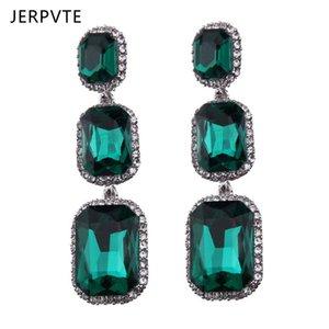 Dangle & Chandelier JERPVTE Brand Green Crystal Drop Earrings Women Long Hanging Wedding Statement Jewelry Party Gift