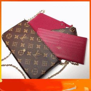 Women Handbag Shoulder Bags Totes Top 3pcs set Pochette Accessories Brown Flower Messenger Chain Strap Cross Body Ladies Flap Purse Clutch With Dust bag