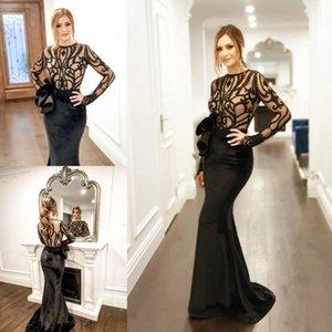 Sexy Noir Sirène Robes de bal Sheer Longues Manches Illusion Dentelle Applique Velvet Robes de soirée élégante Robes de fête officielle fabriquées sur mesure