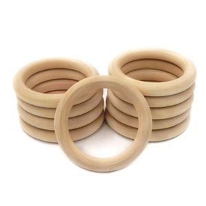 68mm(2.68inch) Nature Wooden Ring Teether Montessori Baby Toy Organic Infant Teething Toy Accessories Necklace DIY Baby Teether 127 Z2