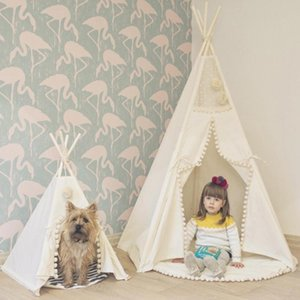 Teepee Tent for Kids Foldable Children Play Tents for Girls and Boys 100% Cotton Canvas Playhouse Toys Girl and Child