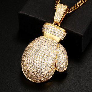 Iced Out Boxing Pendants Necklaces Mens Hip Hop Jewelry Gloves Full Cubic Zirconia Bling Pendant With Tennis Chain Gift Chains