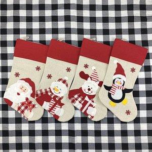 47x22cm Christmas Stocking Socks Non-woven fabric Old man snowman elk penguin Creative Santa Gift Bag Candy Dcoration Penda item
