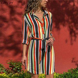 Mode Sommer Langarm Hemd Kleid 2021 Boho Strandtecke Frauen Casual Gestreiften Druck A-Line Mini Party Vestidos Kleider