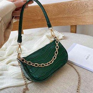 Women's Fashion Chain Shoulder Handbags Stone Pattern Baguette Messenger Bags Double shoulder straps Female Casual Tote Bags C0508