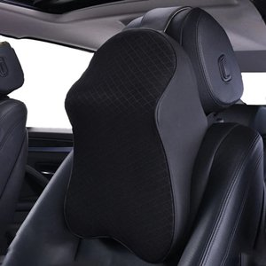 Coussin d'oreiller automobile Soutien Coussins Coussins Pour soulager la fatigue du cou avec le cuir Noir PU et la mémoire en mousse de mousse Case d'assise en conception ergonomique (1 paquet)