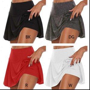 Tennis Golf Sport Trousers 2 Women Skirt In 1 Solid Color Running Leggings Skort F3MD