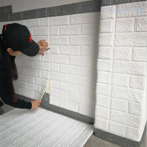 70*77cm 1pcs 3D Wall Stickers Imitation Brick Bedroom Decor Self-adhesive Wallpaper For Living Room Kitchen TV Backdrop