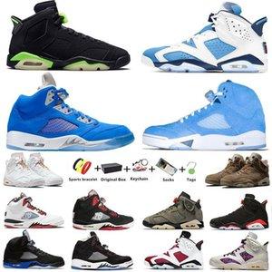 Air Jordan 5 retro 6 chaussures de basket-ball pour hommes Jumpman 5s Bluebird Racer Blue Quai 54 UNC 6s British Khaki Electric Green Raging Bull Gold Hoops sport  hommes With Box
