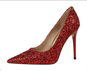 Women 9.5cm High Heels shoes Plus Size 43 Stripper Glitter Scarpins Luxury Pumps Stiletto Wedding Bridal Gold Silver Fetish Shoes