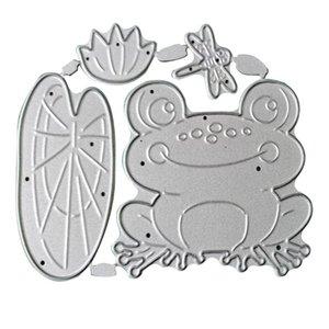 Painting Supplies Frog Lotus Pond Metal Cutting Dies Stencil Scrapbooking DIY Stamp Paper Card Embossing Decoration Craft