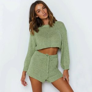 Sexy Green Knitted Women 2 Pieces Set Romper Autumn Casual Sweater Playsuit Chic Warm Cool Jumpsuit Homewear Two Piece Dress