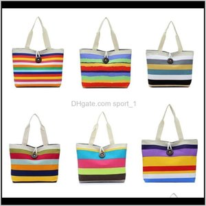 Storage Housekeeping Organization Home & Garden Drop Delivery 2021 Canvas Shoulder 11 Styles Rainbow Striped Bag Fashion Female Shopping Hand