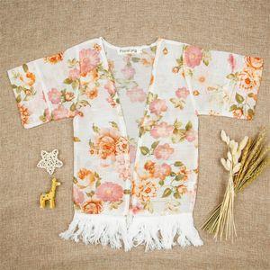 Девушки цветочные шапки пончо с кисточками цветок напечатаны наполовину широкий рукав рамин весна осенью вершины наряд 1-5T 32 y2