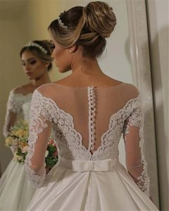 Ball Gown Vestidos De Noiva Satin Wedding Dresses for Women 2021 Long Sleeve Bridal Gowns Pearl Lace Robe de Mariage