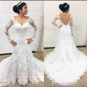 2021 Long Sleeves Backless Meramind Wedding Dress with Lace Appliques Sweep Train V-Neck Customized Bridal Gown