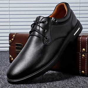 Dress Shoes Mens Style Casual lace up Genuine Leather Hand Painted Oxfords black Brown Fashion Street Pos Men's Flats shoes EUG2