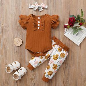 Комплекты одежды Родины Baby ROPA PARA Niña Твердые вздохнутые ползунки Боди, цветочные печатные брюки Детская муслинская одежда для детей