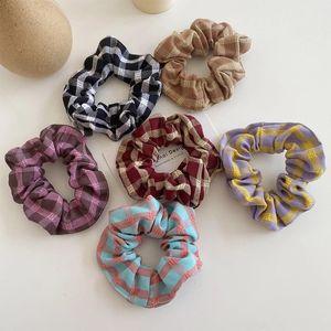 Korean Plaid Scrunchie Elastic Hair Rubber Bands For Women Girls Sweet Hair Ropes Ties Headwear Ponytail Hair Accessories