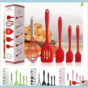 Cooking Utensils Kitchen Tools Kitchen, Dining & Bar Home Garden 5Pcs Lot Silicone 4 Colors Bakeware Durable Baking Set Shovel Scraper