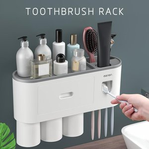 Magnetic Toothbrush Holder Adsorption Automatic Inverted Toothpaste Squeezer Dispenser Makeup Storage Rack Bathroom Accessories Holders