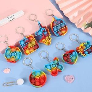 Simples Dimple Fidget Brinquedos Empurrar Bolha Sensory Brinquedo Colorido Luminoso Soft Squishy Antistress Chaveiro Pingente