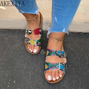 Slippers Women's Beach Snakeskin Pattern Transparent One-word Buckle Open-toe Outdoor Flat Sandals And 1GMV