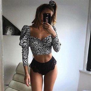 Women's Leopard Print Crop Top Fashion Sexy U-Neck Long Sleeve Tee Tops Ladies Elegant Blouse Vintage Shirt Party Clubwear Blouses & Shirts