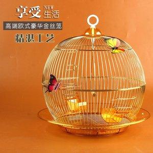 Bird Cages Round Feng Tiger Skin Muniao Peonia Pearl Metallo Cage Decorativo Piccolo pappagallo riproduzione