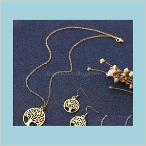 Sets Drop Delivery 2021 Fashion Women Hollowing Tree Life Disk Pendant Necklace And Earrings Jewelry Set Plated Golden Siery Wcudm